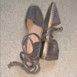 taupe suede sandals with ankle ties